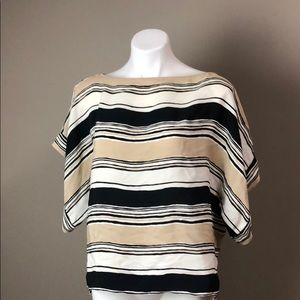 Zara Striped Tie Back Top Cream Black XS